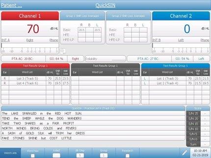 Speech-in-Noise Audiometry Testing Screen